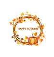 happy autumn orange wreath with vector image