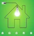 Home icon with creative light bulb vector image
