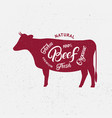 cow silhouette and hand written lettering words vector image