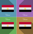 Flags Egypt Set of colors flat design and long vector image