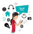 girl mobile headphones technology browser social vector image