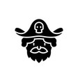 pirate icon black sign on vector image