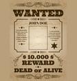 wanted dead or alive western old vintage vector image