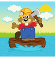 beaver on log vector image vector image