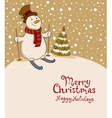 The snowman on skis cozy retro Christmas card vector image vector image