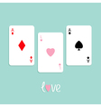 Three ace card love pink Flat design vector image