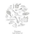 Sauna accessories doodle set Sketch vector image