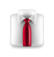 White shirt with red tie isolated vector image vector image