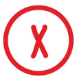 Cross red sign in red circle vector image