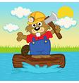 beaver on log vector image