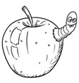 cartoon apple infected by cute crazy insect worm vector image