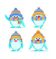 cute hand drawn penguins set vector image