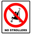 no strollers or pushchair vector image