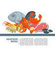 seafood menu poster design for fresh fish vector image