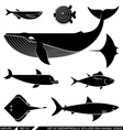 Set of geometrically stylized sea animal icons vector image