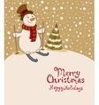 The snowman on skis cozy retro Christmas card vector image