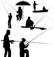 fishing man silhouette vector image
