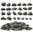 rock stone cartoon in isometric flat style set of vector image
