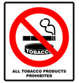 all tobacco products prohibited icon no smoking vector image