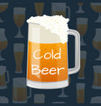 beer mug with foam in cartoon style vector image