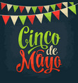 cinco de mayo lettering and garland color vector image