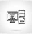 desktop computer flat line icon vector image
