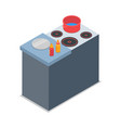 isolated cooker with red round pot vector image