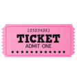 Pink cinema retro ticket isolated on white vector image vector image