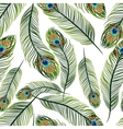 Seamless texture with peacock feathers vector image vector image