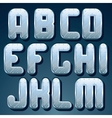 Metallic Font Set of Shiny Silver Letters vector image
