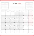 Calendar Planner for June 2017 vector image vector image