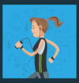 sport woman with headphones device social media vector image