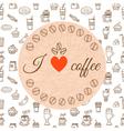 I love coffee Hand drawn coffee theme design vector image