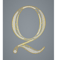 Abstract golden letter Q vector image