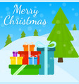 christmas greeting card with presents and tree vector image