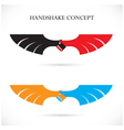 Handshake abstract design concept template vector image
