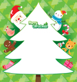 Santa And Christmas Tree On Green Background vector image