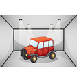 A red jeep inside the garage vector image vector image