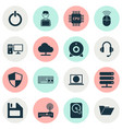 laptop icons set collection of motherboard power vector image