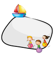 An empty template with kids playing and a ship vector image vector image