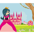 Beautiful little princess in front of her castle vector image