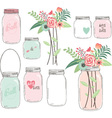 Wedding Flower with Mason Jar vector image