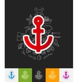anchor paper sticker with hand drawn elements vector image