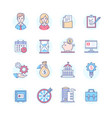 business - set of line design style icons vector image