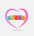 Pink family logo Heart shape vector image