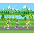 Three girls rollerblading vector image