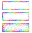 Rainbow line art banner frame design set vector image