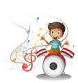 A young drummer smiling vector image vector image