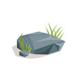 grey stones with green grass landscape design vector image