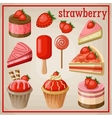 Set of sweets with strawberry vector image